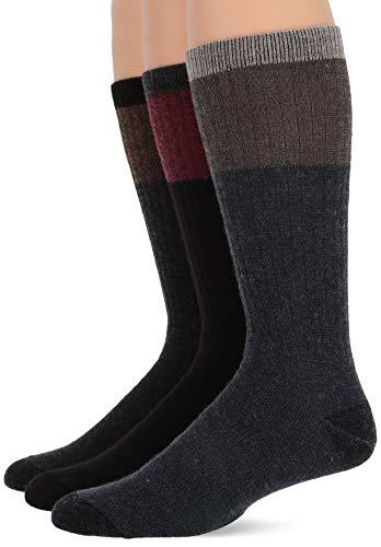 Acryl Multi-sport-socken (Wise Blend Herren Merino Wool Blend Block Stripe Knit Crew 3 Pair Pack Legere Socken, Multi, Large)