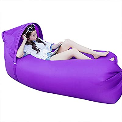 JINYJIA Lazy Lounger Sleeping Bag, Portable Outdoor Indoor Air Sleep Sofa Laybag Couch Bed, Nylon Waterproof Collapsible, Beanbag for Lounging, Summer Camping, Beach, Fishing - inexpensive UK light shop.