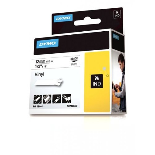 Dymo 18444 Rhino-Industrie-Vinyletiketten (Rolle 12mmx5,5m, schwarzer Druck auf weißem Untergrund, selbstklebend)