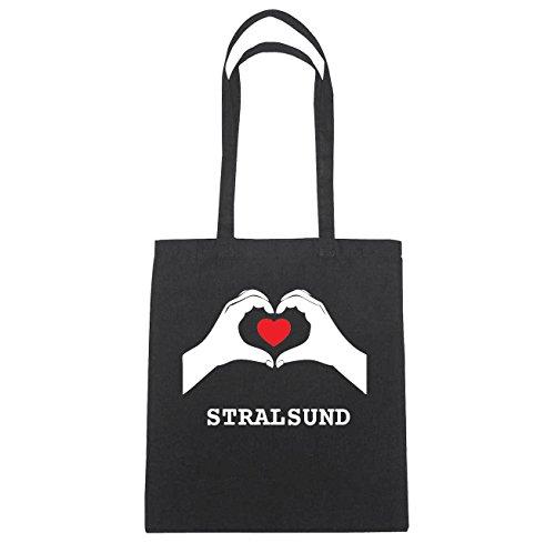 JOllify STRALSUND Baumwolltasche Tasche Beutel B1075black - Farbe: schwarz: Hände Herz