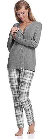 Italian Fashion IF Damen Stillpyjama Aurora 0223 (Dunkelmelange, XL)