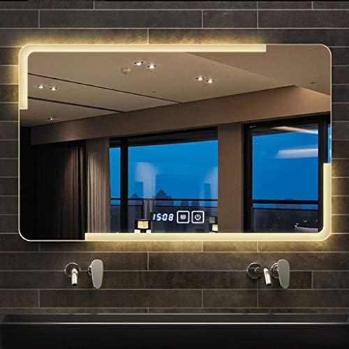 Specchio da bagno HLF- Espejo de baño montado en la Pared, Espejo de baño Inteligente con música Bluetooth, con Pantalla...