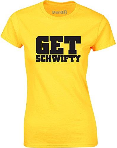 Brand88 - Get Schwifty, Mesdames T-shirt imprimé Daisy jaune/Noir