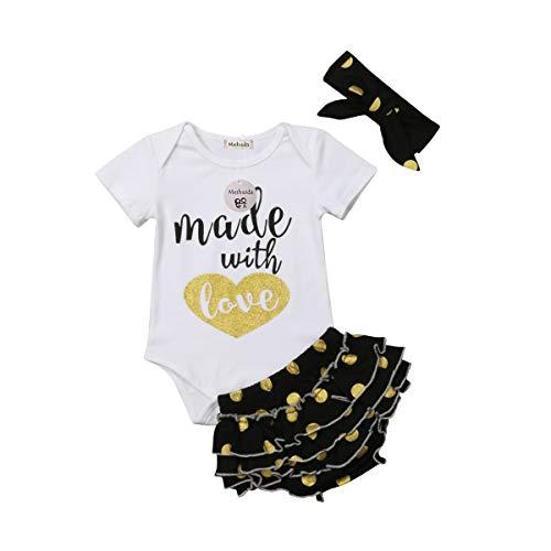 Bravoy Baby Mädchen Kleidung 3Pcs Kurzarm Stramper Polka Dot Pants Stirnband Outfits Set (0-6 Monate) (Baby Mädchen Polka Dot Stirnband)