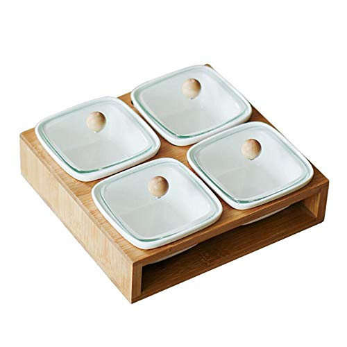 Keramik-Snacks Serving Bowl Set Candy Dish mit Glaslid Bamboo Tray für Party Nuts Fruits Veranstalter Spice Jar,Square Candy Dish Set