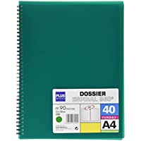 Plus Office 13461-40-GN - Carpeta con 40 fundas y espiral, color verde