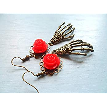 Skeleton hand earrings with red rose pendants, Day of the Dead jewelry, Selma Dreams Cinco De Mayo earrings, goth bohemian