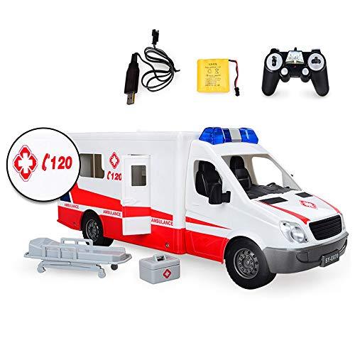 Lotee RC Kinder Elektroauto drahtlose Fernbedienung Krankenwagen Kind Rettungswagen Polizei Auto Arzt Krankenwagen Spielzeug Modell 1:18 Simulation Sound Beleuchtung Jungen und Mädchen Kinder Geschenk