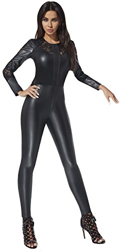 luxuriöser Catsuit Overall in Leder-Optik * Gr. S M L XL XXL (34-44) Bodysuit Einteiler Rosie dezent mit Spitze Jumpsuit Hosenanzug (Rosie Gr. M)