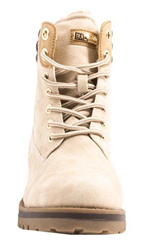 Elara Damen Stiefeletten | Profilsohle Schnürer | Worker Boots | Gefüttert & Ungefüttert Beige Gefüttert