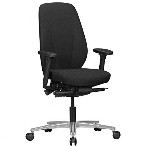 Bürostuhl OSKAR mit Stoff-Bezug in Schwarz | Design Schreibtisch-Stuhl mit Synchromechanik & verstellbaren Armlehnen | Drehstuhl Drehsessel ergonomisch 120 kg