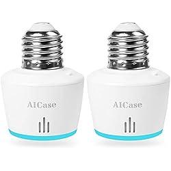 Smart WiFi E27 Light socket, Aicase Intelligent WLAN [2 pezzi] Home Remote Control Light Lamp Bulb Holder Works with ALEXA e Google Home-white (Smart WiFi E27 Light socket)