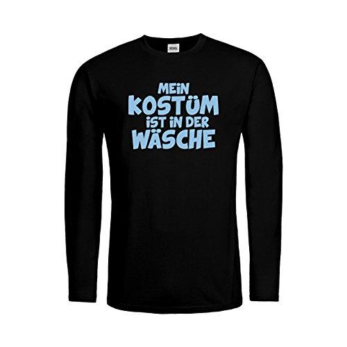 MDMA Kids T-Shirt Longsleeve Mein Kostüm ist in der Wäsche! mdma-ktls00436-11 Textil black / Motiv himmelblau Gr. 152