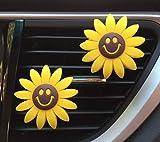 yh 2 Stück Sonnenblumen-Autozubehör Auto-Lufterfrischer Gelb Sonnenblumen-Clips Sonnenblumen-Geschenk Dekoration Girasoles Auto Clip Innenraum Lüftungsgitter Dekoration - 2 Smiles