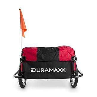 remolque para bicicletas con dos ruedas en color rojo y negro