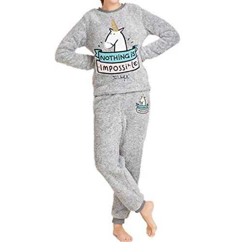 GWELL Damen Schlafanzug Set Einhorn Motiv Flanell Pyjama Zweiteiliger Langarm Nachtwäsche Winter grau M