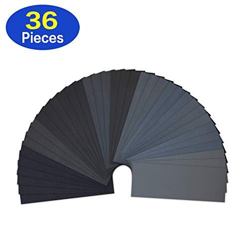 Lot de 36 Papier de Verre, LANHU Papier Abrasif 23 x 9.3cm à Sec à l'Eau 120/220/320/400/600/800/1000/1200/1500/2000/2500/3000 (3 x 12) Feuilles/Grains