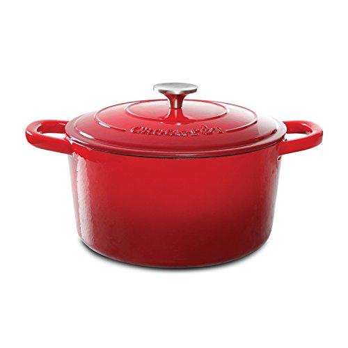 Topf Artisan emaillierter Gusseisen Dutch Oven runder Schmortopf 5-Quart rot