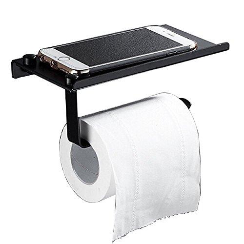 Wandhalterung Toilettenpapierhalter, Badezimmer Tissue Halter mit Handy-Ablage, Wischtücher Halter/Dual Papierhandtuchspender/Haken/Tower Matte Black Finish von ONEZERO