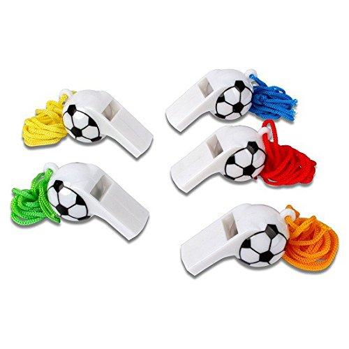 Schramm® 12er Pack Trillerpfeife Plastik Fußball Design Triller Pfeife Pfeifen Fußballpfeife Schiedsrichterpfeife Trillerpfeifen