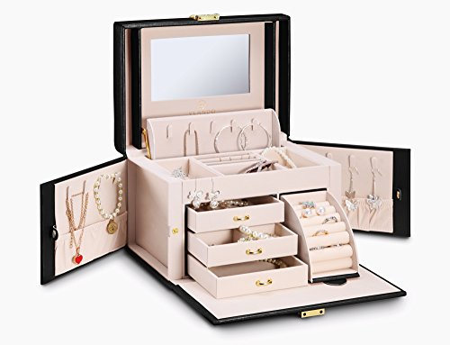 Vlando Diamant-Leder-Schmuck-Box Organizer-Weinlese-Halsketten-Ring-Anzeigen-Geschenk-Kasten -