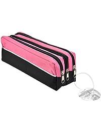 ARPAN Triple Fermeture Éclair rectangulaire grand Étui à crayons en tissu bleu ou rouge/violet, noir, maquillage école FREE P & P - rose