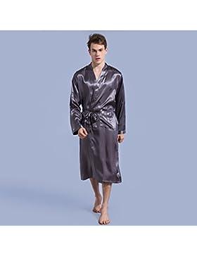 ALJL Nuevos Hombres Trajes Pijama Delgada de Rebeca Camisón Flojo Sueltos Vestidos de Seda Cómodo Albornoz Gris...