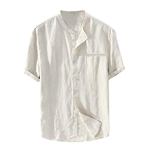 VJGOAL Herren T Shirt V Ausschnitt Sommer Einfarbig Große Größen Beiläufig Baumwolle und Leinen Tasten Lose Kurzarm Men Tops S-XXL