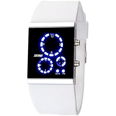 So Ver hombre mujer 3ATM resistente al agua LED Digital Blanco Deportes Buceo reloj con correa de