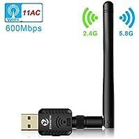 Zoweetek® Clé USB Wifi 600Mbps Mini Wi-Fi Dongles Adapteur Réseau Sans Fil Avec Antenne Bande Jusqu'à 5GHz 433Mbps ou 2.4GHz 150Mbps Pour Windows XP/Vista/7/8/8.1/10 (32/64bits)/MAC(10.6-10.13)