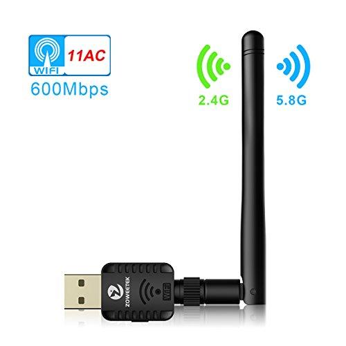 Zoweetek Clé USB Wifi 600Mbps Mini Wi-Fi Dongles Adapteur Réseau Sans Fil Avec Antenne Bande Jusqu'à 5GHz 433Mbps ou 2.4GHz 150Mbps Pour Windows XP/Vista/7/8/8.1/10 (32/64bits)/MAC(10.6-10.13)
