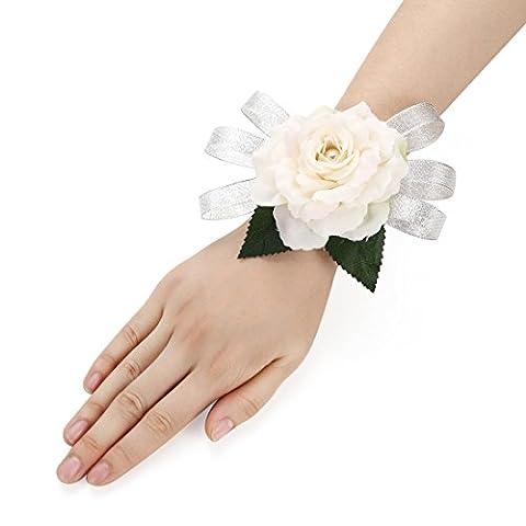 2PCS rose fleur poignet corsage argent bling ruban perle Stretch bracelet mariage