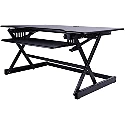 Table d'appoint Bureau réglable Ascenseur Debout Table établi Bureau Support Informatique Support Pliable (Color : Black, Size : 80.6 * 52 * 45.5cm)