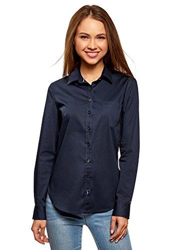 oodji Ultra Damen Hemd Basic mit Brusttasche, Blau, DE 38/EU 40/M (Baumwolle Damen Knitterfrei Shirt)