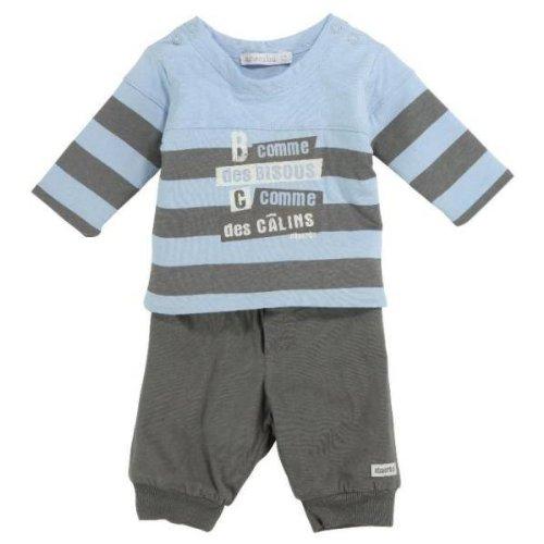 Absorba Baby–Set Shirt und Hose blau taupe 3Monate (Set Absorba Hose)