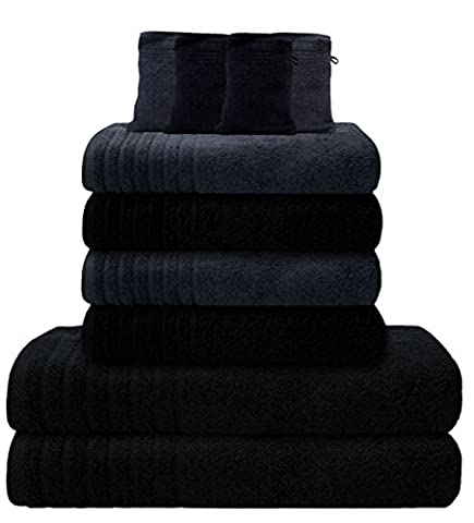 Gallant 10 tlg. Handtücher Set grau schwarz 2 Badetuch Duschtuch 70x140 cm schwarz 4 Handtücher 50x100 cm 4 Waschhandschuhe 100% Baumwolle Frottee Handtuch-Set grau anthrazit