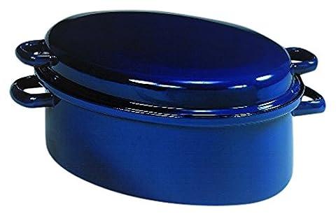 Karl Krüger GR42 BL Gänsebräter emailliert 42 cm in Bräter, Emaille, Blau, 43.4 x 33.4 x 19 cm