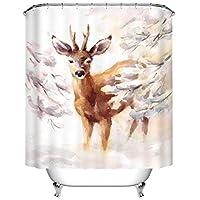 XINGUANG Baño Impermeable Engrosamiento Personalidad Snow Deer 3D impresión Digital poliéster Cortina (Tamaño : 150 * 180)