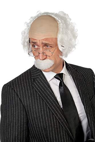 Wilbers Wissenschaftler Halbglatze-Perücke mit Bart Weiss-Haut (Einstein Perücke Und Schnurrbart)