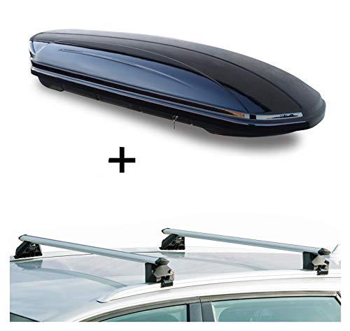 Dachbox VDPMAA320 320Ltr abschließbar schwarz + Dachträger CRV107A kompatibel mit Opel Astra J Kombi (5 Türer) 2010-2015