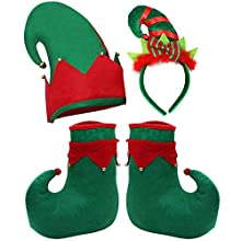 Tupa Christmas Elf Costume Set Felt Elf Hat Elf Shoes Christmas Elf Headband Xmas Holiday Party Adult Elf Accessories