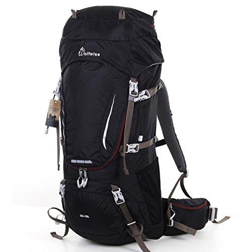 WolfWise Trekkingrucksack, Wanderrucksack Reiserucksack, Wasserdichter Rucksack mit Regenschutzhülle, für Camping/ Wandern/ Bergsteigen/ Reisen, Nylon (65L+Schwarz)