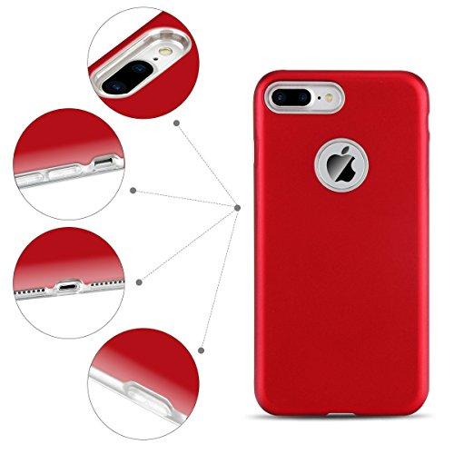 Cover iPhone 7 Plus (5.5 pollici) Spiritsun iPhone 8 Plus Custodia TPU+PC Handy Moda Elegante Case Cover Soft + Hard Silicone Back Cover Protezione Bumper Funzione Shell Morbida Flessible TPU Cover Pe Rosso