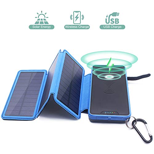 Solar-power-batterien (Wireless Powerbank Solar 20000mAh Kabellose Externer Akku 2 Ausgänge (2 USB 2.1A & Kabellose 1A) Solar Induktions Ladegerät 2 Input(3 Solar Panels & USB) LED & Haken für iPhone Samsung Smartphone)