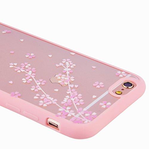 iPhone 6 / 6S Custodia, Yokata PC Silicone Bumper Goccia Protezione Cover Rosa Trasparente Crystal Clear Backcover Utral Slim Ultra Sottile Luce Case per iPhone 6 / 6S + 1 * Stilo Penna - Coniglio Gatto Nero