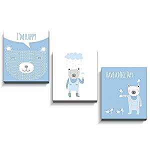 luvel® - Children's poster / wall decoration set of 3 (M50) with 3D effect for children's room 17 x 20 cm plates - Walltattoo Children's room MADE IN GERMANY (light blue)