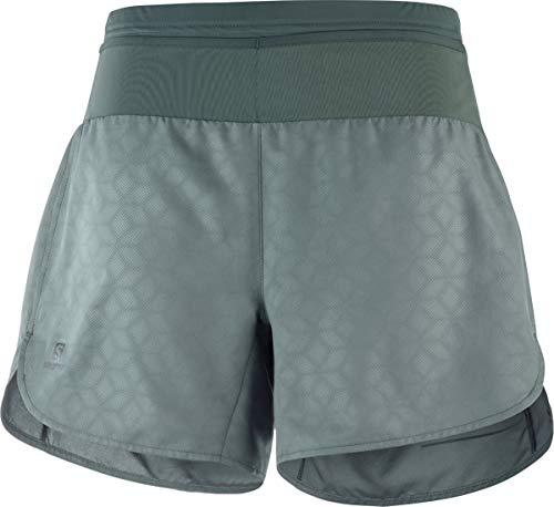 SALOMON, Damen 2-in-1 Sport-Shorts mit Innenhose, XA Short, Polyester/Elasthan, Grau (Urban Chic), Größe: XL, LC1025300