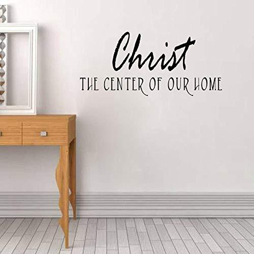 Christus das Zentrum unseres Hauses Christian PVC Wandaufkleber Dekor Worte Schriftzug73.8CM*33.5CM (Hause Worten Dekor)