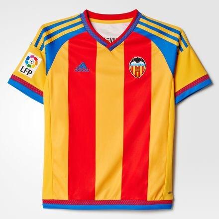 Adidas Valencia Away JSY Y - Camiseta para niño, Color Rojo/Amarillo / Azul, Talla 116