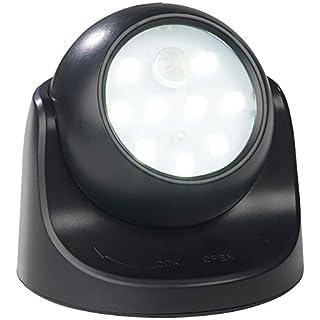 Luminea Runde Taschenlampe: Kabelloser LED-Strahler, Bewegungssensor, 360° Drehbar, 100 lm,Schwarz (LED-Leuchte mit Bewegungssensor)